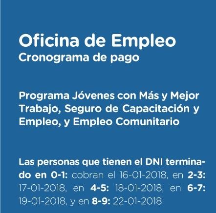 Hoy comienza el pago de los programas sociales pagina 16 for Oficina de empleo